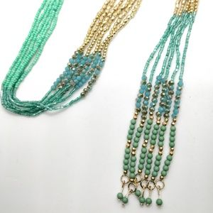 Aqua Marine and Gold Rhinestone Necklace Set
